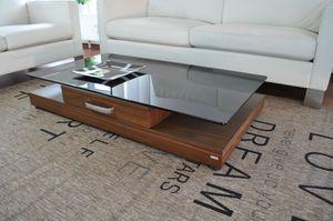Design Couchtisch Tisch V-470 Nussbaum / Walnuss getöntes Glas Carl Svensson
