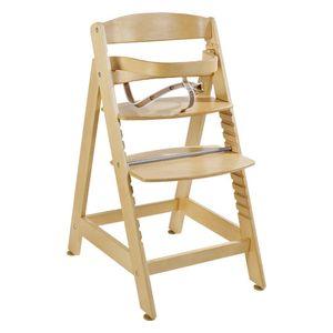 roba 7566 Sit up Maxi übergroßer Treppenhochstuhl mit Gurtsystem, Sicherheitsbügel und abnehmbarem Essbrett, natur