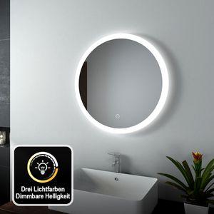 EMKE LED Badspiegel Rund 60 cm Durchmesser LED Spiegel Badezimmerspiegel mit Beleuchtung 3 Lichtfarbe 3000-6400K Kaltweiß Neutral Warmweiß Dimmbar Lichtspiegel mit Touchschalter IP44 Energiesparend