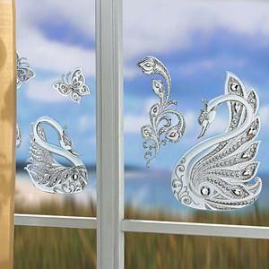 Fensterbild Fensteraufkleber Frühling Schwan Schmetterling wiederverwendbar 4tlg.