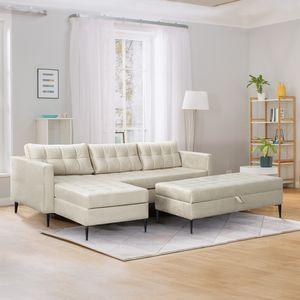 Selsey Ecksofa KOPENHAGA - Sofa mit Schlaffunktion, Hocker, Bettkasten, schwarzen Metallbeinen und Stoffbezug in Hellbeige, 220 cm breit