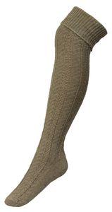 Tobeni Damen Overknees mit Zopfmuster und doppeltem Umschlag, Farbe:Beige, Grösse:35-38