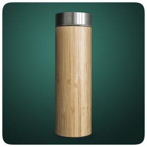 Bambus Thermobecher Tee-to-go-Flasche Teeflasche 450ml doppelwandig Edelstahl Sieb & Deckel