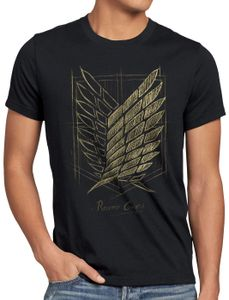 style3 Protect the Wall Herren T-Shirt AoT on attack anime titan, Größe:L, Farbe:Schwarz