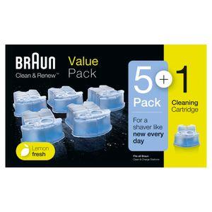 Braun Clean & Renew Ersatzkartuschen für elektrische Rasierer, 5+1er-Pack, kompatibel mit allen Braun SmartCare und Clean & Charge Reinigungsstationen