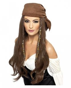 Piraten Lady Langhaar Perücke mit Kopftuch