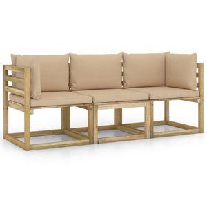 vidaXL 3-Sitzer-Gartensofa mit Beige Kissen