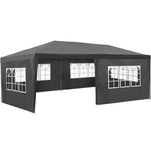 tectake Garten Pavillon 6x3m mit 5 Seitenteilen - grau