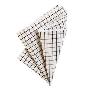 DonDon Herren kariertes Einstecktuch 23 x 23 cm Baumwolle Karomuster - Weiß-schwarz kariert