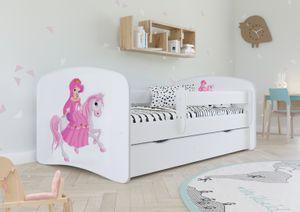Kinderbett Jugendbett 70x140 cm Weiß mit Rausfallschutz Schublade und Lattenrost Kinderbetten für Mädchen und Junge - Prinzessin auf dem Pony
