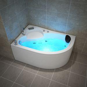 TroniTechnik Whirlpool Badewanne CAPRI RECHTS 150cm x 100cm mit Spülfunktion, Wasserfalleinlauf Hydromassage und Farblichtherapie