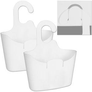 Duschkörbe weiß zum Hängen 2 Stück Duschkorb Hängekorb Bad Duschablage Körbchen Badezimmer Universalkorb Duschregal Korb