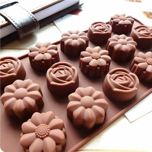 Silikon Blumen Rose Seifenform  Pralinenform Backform Eiswürfelform Schokoladen