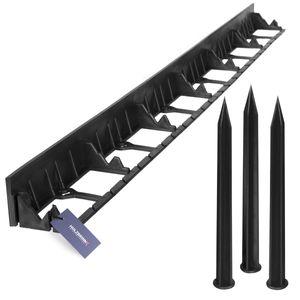 HOLZBRINK Rasenkante Wurzelsperre PVC Leiste inkl. 3 Anker, Höhe: 58mm, Länge: 1m, HRK01B-58
