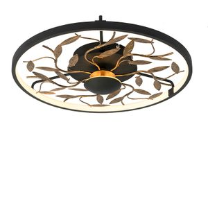 QAZQA - Art Deco Art Deco Deckenleuchte | Deckenlampe | Lampe | Leuchte schwarz mit Gold | Messing 3-Stufen dimmbar - Bota Dimmer | Dimmbar | Wohnzimmer | Schlafzimmer | Küche - Stahl Rund - | (nicht austauschbare) LED