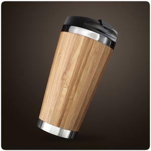 PRECORN Coffee to go Becher stylisch 450 ml aus Edelstahl Bambus Kaffeebecher to go 100% Auslaufsicher Umweltfreundlich