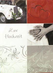 Hochzeitskarte Herzen / Oldtimer, mit Umschlag