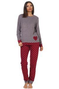 Damen Frottee Pyjama mit Bündchen im Herz Tupfen- und Ringeldesign  - auch in Übergrössen, Farbe:Ringel rot, Größe:44/46