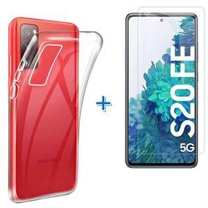 Samsung Galaxy S20 FE 5G / S20 FE 4G Panzerglas Schutz Folie Hart-Glas + Schutzhülle Transparent Silikon Case Full-Cover Full Screen
