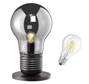 Tischleuchte GLÜHBIRNE schwarz , Retro Loft Tischlampe ,Landhaus Bodenlampe , Vintage Industrie Leuchte , Lampe inkl. LED !