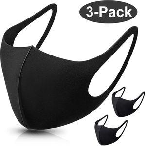 3 Stück Schwarz Schwammmaske Masken Staubmaske Unisex Wiederverwendbar Mundschutz Maske