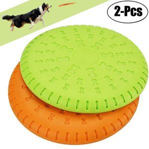 23CM Hunde Frisbee Scheibe Hundespielzeug - 2PCS Gummi Hunde Training Frisbee 100% Weich Soft Rubber Discfür mittelgroße/große Hunde Interaktives Spielzeug