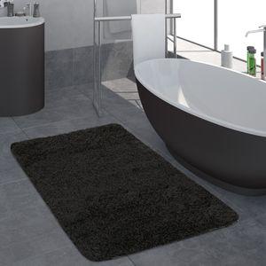 Moderner Badezimmer Teppich Einfarbig Hochflor Badteppich Rutschfest In Schwarz, Grösse:60x100 cm