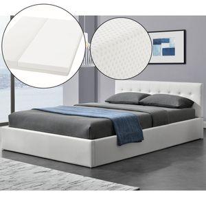 Polsterbett Marbella 140x200 cm mit Matratze, Bettkasten & Lattenrost – Bett aus Kunstleder und Holz – Jugendbett weiß | ArtLife