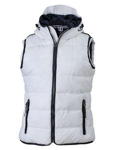 Steppweste Ladies' Maritime Vest Modische Weste mit angeschnittener Kapuze , Größe:XXL, Farbe:White-Navy