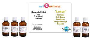 Saunaaufguss Set 5 x 50ml Luxus plus 10g Mentholkristalle
