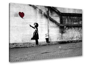 80 x 60 cm Bild auf Leinwand Banksy 4165-SCT deutsche Marke und Lager  -  Die Bilder / das Wandbild / der Kunstdruck ist fertig gerahmt