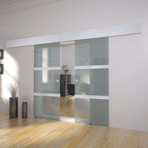 Doppelschiebetür/Zimmertür Glas 205 x 75 cm