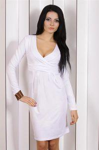 Abendkleid Tunika Mini Kleid überlappender V-Ausschnitt 6883 Weiß