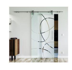 Glasschiebetür inkl. Stangengriff beidseitig - Edelstahlsystem mit offenen Laufrollen in sehr hoher Qualität. Ellipsen-Design Frankfurt in 900 x 2050 mm für einen Durchgang von 2 Meter Höhe.