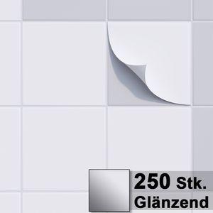 1PLUS Fliesenaufkleber Fliesensticker, 20x20cm, selbstklebend - Fliesen-Folie , Sets:250 Stück, Fliesenaufkleber Farbe:glänzend weiss
