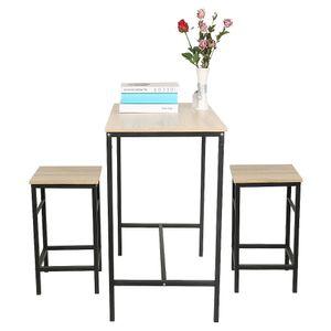 Esstisch mit 2 Stühlen Esszimmergarnitur, Sitzgruppe, Tischgruppe Holztisch Balkontisch 80x50x87cm