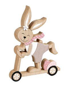 Deko Hase auf Roller Holz Garten Hasen Tier Figur Osterhase Skulptur Oster Ei