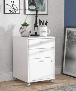 Rollcontainer NET Weiß mit 2 Schubladen und Tür abschließbar