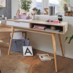 WOHNLING Design Schreibtisch mit Schublade SAMO Bürotisch Sonoma / Weiß 120 cm | Schreib- und Computertisch mit Regal-Fach | Kleiner Nähtisch | Arbeitstisch Büro Skandinavisch