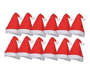 10x Weihnachtsmütze Nikolausmütze Santa Claus Premium rot für X-Mas