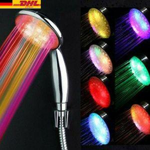 LED Handbrause wassersparend Farbwechsel Duschkopf temperatur 7 Farbe-Wechseln Duschbrause Mit Schlauch