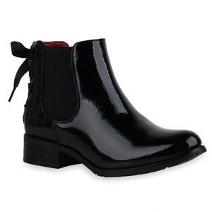 Mytrendshoe Damen Stiefeletten Chelsea Boots Leicht Gefüttert Blockabsatz 835452, Farbe: Schwarz, Größe: 38