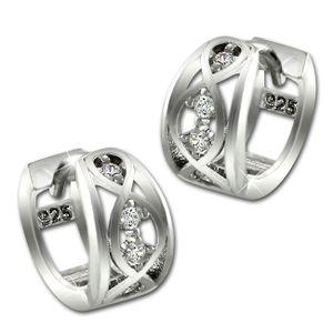 SilberDream Ohrringe Ranke Zirkonia weiß Damen 925 Echt Silber Creolen SDO4329W