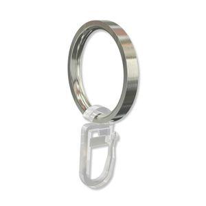 Interdeco Ringe mit Faltenhaken, Gardinenringe für Gardinenstangen 20 mm Ø, Edelstahl-Optik (Packung 12 Stück)