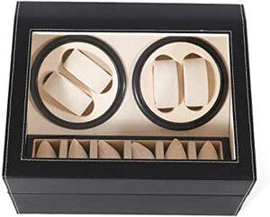 Automatischer Uhrenbeweger für 10 Uhren, schwarzer Uhrenbeweger staubdichte Box Kunstleder selbstaufziehende mechanische Uhrenschatulle Uhrendisplay Aufbewahrung für Männer und Frauen Uhren
