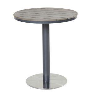 Bistrotisch 70 cm grau Edelstahl Metall rund Polywood Tisch Gartentisch