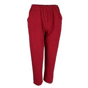 Damen Leichte Freizeithose Stoffhose Leinenhose Sommerhose High Waist Leinen Business Hose M rot Solide
