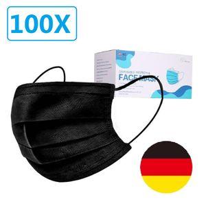 100 Stück Einweg-Schwarz 3-lagige Vliesmaske Gesichtsmaske PSA Anpassungsfähiger Nasenriegel Anti-Influenza-Bakterien-Barrierestaub【schwarz】