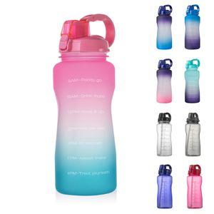 2000ml Motivierend Wasserflasche mit Zeitmarke & Stroh, Auslaufsichere Sportflasche Für GYM Outdoor Sport