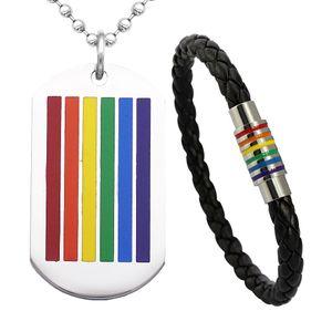 LGBT Stolz Stil Regenbogen Anhänger Edelstahl Halskette + Armband, Unisex